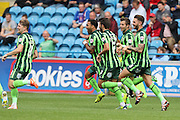 Andy Barcham of AFC Wimbledon celebrates scoring during the Sky Bet League 2 match between Carlisle United and AFC Wimbledon at Brunton Park, Carlisle, England on 22 August 2015. Photo by Stuart Butcher.