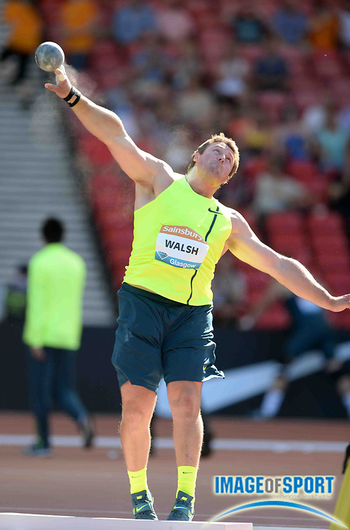 Jul 11, 2014; Glasgow, Scotland; Tom Walsh (NZL) places third in the shot put in a national record 69-8 (21.23m) in the 2014 Sainsbury's Glasgow Grand Prix at Hampden Park Stadium. Photo by Jiro Mochizuki