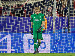 SEVILLE, SPAIN - Tuesday, November 21, 2017: Liverpool's goalkeeper Loris Karius looks dejected as he concedes the second goal, from a re-taken penalty, during the UEFA Champions League Group E match between Sevilla FC and Liverpool FC at the Estadio Ramón Sánchez Pizjuán. (Pic by David Rawcliffe/Propaganda)