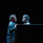 Edinburgh International Festival (EIF). Don Giovanni (Opera) by Wolfgang Amadeus Mozart. Conducted by Iv&agrave;n Fischer. Jose Fardilha as Leporello and Kristinn Sigmundsson as Commendatore. Festival Theatre, Edinburgh.  08 Aug 2017. Edinburgh. Credit: Photo by Tina Norris. Copyright photograph by Tina Norris. Not to be archived and reproduced without prior permission and payment. Contact Tina on 07775 593 830 info@tinanorris.co.uk  <br /> www.tinanorris.co.uk