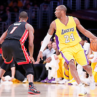 13 January 2014: Los Angeles Lakers guard Kobe Bryant (24) drives past Los Angeles Lakers guard Kobe Bryant (24) during the Miami Heat 78-75 victory over the Los Angeles Lakers, at the Staples Center, Los Angeles, California, USA.