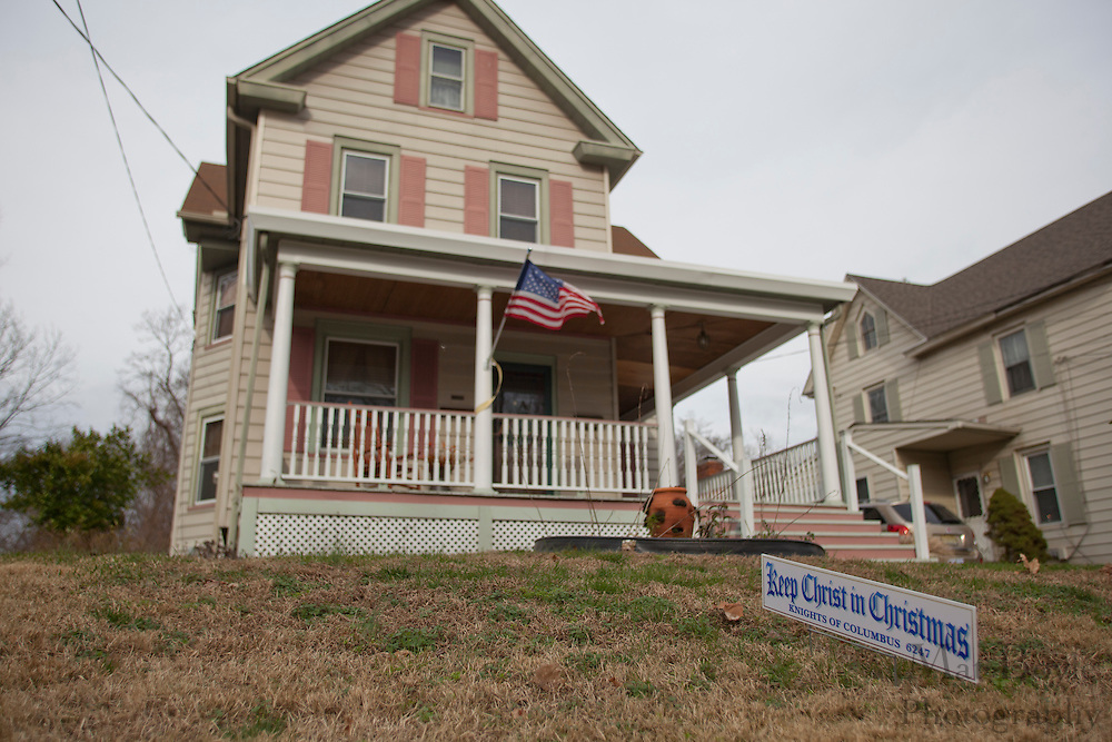 "A ""Keep Christ is Christmas""  sign is displayed in a yard on W Holly Ave. in Pitman, NJ on Thursday December 15, 2011. Many ""Keep Christ is Christmas"" signs have been popping up in local yards after the downtown Pitman ""Keep Christ is Christmas"" banner controversy began. (photo / Mat Boyle)"