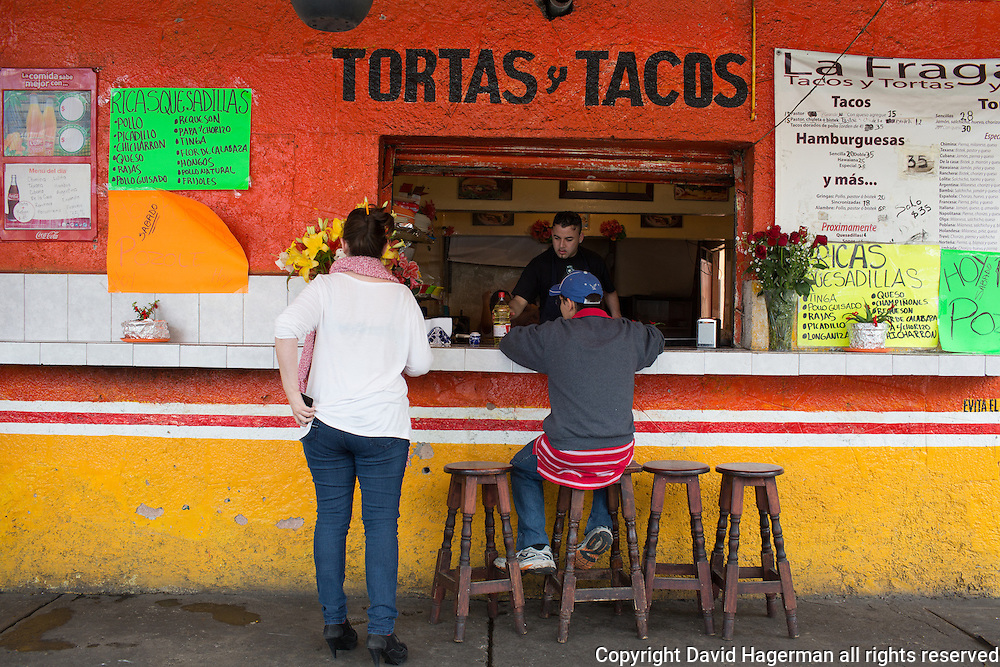 A typical torta and taco stall in the Coyoacan district.