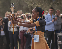 November 12, 2016 - Marathonas, Greece - First Torch bearer Jemima Sumgong Gold Medal winner at the 2016 Rio Olympics.Ceremony in the Greek city of Marathonas as part of the 35 Athens Marathon the Authentic. (Credit Image: © George Panagakis/Pacific Press via ZUMA Wire)
