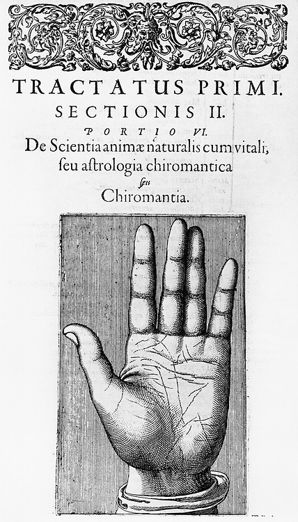 Title page of chapter on Chiromancy from Robert Fludd 'Utriusque cosmi ... historia' Oppenheim 1617-1619 showing the lines of the hand. Copperplate engraving