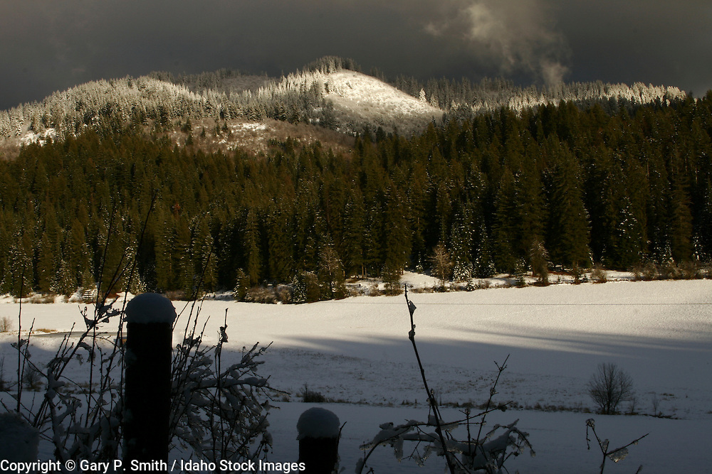 Winter view of Hollister Mt. from the Smith ranch, Hayden Lake Idaho.