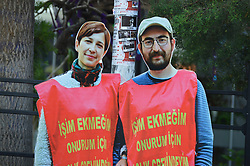 June 16, 2017 - Ankara, Turkey - A cardboard of sacked academic Nuriye Gulmen and primary school teacher Semih Ozakca, who were arrested by a court decision on the 76th day of their hunger strike, is seen at a protest in Ankara, Turkey on June 16, 2017. (Credit Image: © Altan Gocher/NurPhoto via ZUMA Press)