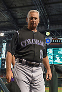 PHOENIX, AZ - SEPTEMBER 14:  Bud Black #10 of the Colorado Rockies in the dugout for the MLB game against the Arizona Diamondbacks at Chase Field on September 14, 2017 in Phoenix, Arizona.  (Photo by Jennifer Stewart/Getty Images)