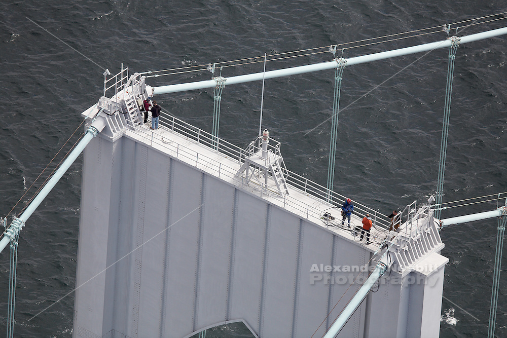 Newport, RI 2006 - Work crew on top of Newport Pell bridge tower.