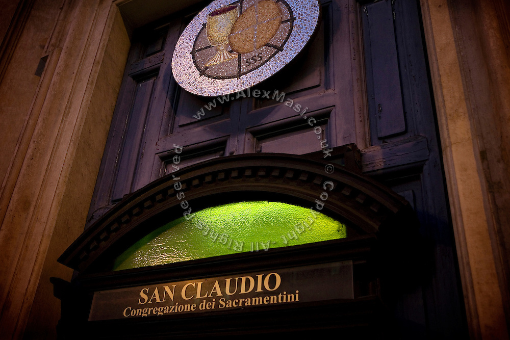 The entrance of The Church of San Claudio, in Rome, Italy, where Father Igino Troiani, 77, normally carries out exorcisms. He has been an exorcist for around five years.<br /> <br /> FOR MORE INFORMATION PLEASE WRITE TO ALEX@ALEXMASI.CO.UK<br /> <br /> **TEXT AND LENGHTY INTERVIEWS AVAILABLE**