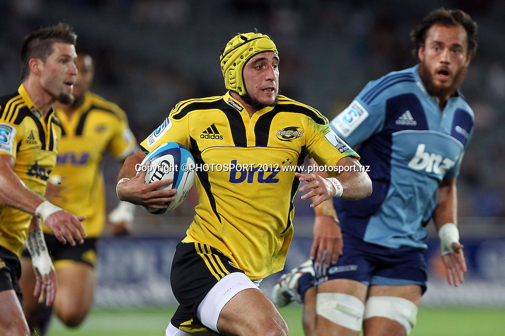 Hurricanes' Andre Taylor makes a break. Super Rugby rugby union match, Blues v Hurricanes at Eden Park, Auckland, New Zealand. Friday 23rd March 2012. Photo: Anthony Au-Yeung / photosport.co.nz