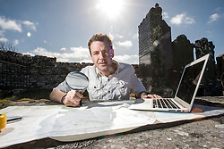 Historian Ashley Cowie in Dirliot Cemetery at the 'The Devil's Gold' in Dirlot, Caithness. He is doing a seven part series for The Scottish Sun on Scotland's treasure hunts at the end of April..©Michael Schofield.