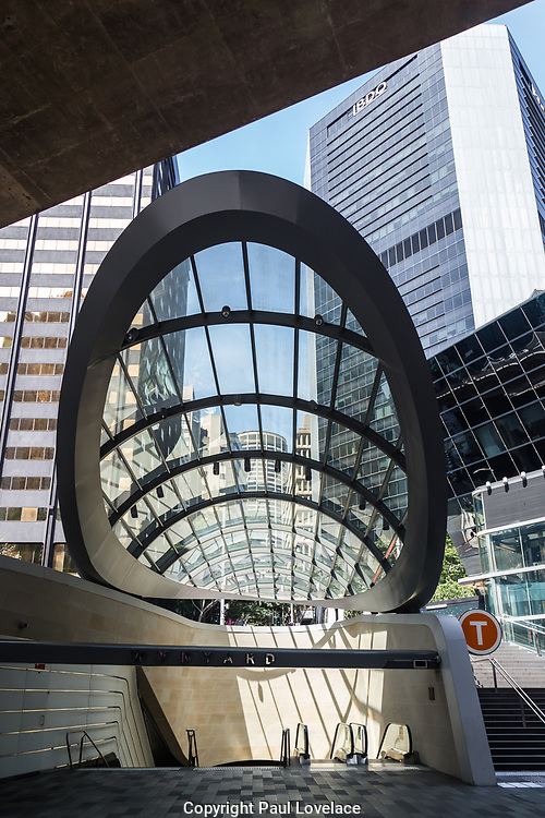 Open Sydney presented by Sydney Living Museuems. This event every year allows Sydneysiders to visit 40 of the city's most significant buildings and spaces across the CBD. Entrance to Wynard Walk with glass roof, Sydney.