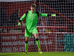 STEVENAGE, ENGLAND - Monday, September 19, 2016: Liverpool's goalkeeper Kamil Grabara in action against Tottenham Hotspur during the FA Premier League 2 Under-23 match at Broadhall. (Pic by David Rawcliffe/Propaganda)