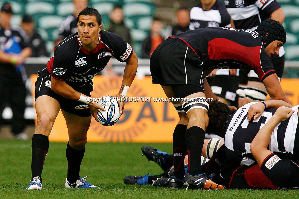 North Harbour's Chris Smylie makes a pass out from a scrum. Air NZ Cup Rugby Union Match. North Harbour v Hawkes Bay. North Harbour Stadium, Albany, Auckland, New Zealand. Saturday 12th September 2009. Photo: Anthony Au-Yeung/PHOTOSPORT