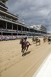 wins the 143rd running of the Kentucky Derby at Churchill Downs May 6, 2017.