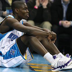 Feb 17, 2010; New Orleans, LA, USA; New Orleans Hornets guard Darren Collison (2) reacts after being knocked down on a play against the Utah Jazz during the first quarter at the New Orleans Arena. Mandatory Credit: Derick E. Hingle-US PRESSWIRE