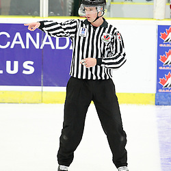 "COBOURG, - Dec 13, 2015 -  Game #1 - Czech Republic vs Canada West at the 2015 World Junior A Challenge at the Cobourg Community Centre, ON. IIHF Linesman Knaggs at the World Junior ""A"" Challenge .(Photo: Tim Bates / OJHL Images)"