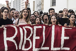 October 13, 2017 - Rome, Italy - Thousands of students held a demonstration, as part of a nationwide mobilization, to protest against the so-called Good School reform, the school-work alternation and in defence of public education in Rome, Italy on October 13. (Credit Image: © Giuseppe Ciccia/NurPhoto via ZUMA Press)