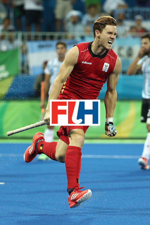 RIO DE JANEIRO, BRAZIL - AUGUST 18:  Gauthier Boccard #12 of Belgium celebrates scoring during the Men's Hockey Gold Medal match between Belgium and Argentina on Day 13 of the Rio 2016 Olympic Games at Olympic Hockey Centre on August 18, 2016 in Rio de Janeiro, Brazil.  (Photo by Sean M. Haffey/Getty Images)