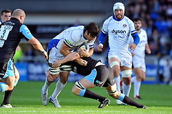 David Sisi of Bath Rugby takes on the Glasgow Warriors defence - Photo mandatory by-line: Patrick Khachfe/JMP - Mobile: 07966 386802 18/10/2014 - SPORT - RUGBY UNION - Glasgow - Scotstoun Stadium - Glasgow Warriors v Bath Rugby - European Rugby Champions Cup