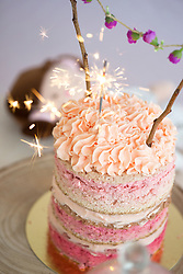 Layered Sponge Cake with Peach Icing, Sparklers and Flower Decorations
