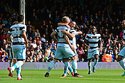 Queens Park Rangers forward Conor Washington (9) celebrates his goal to put QPR ahead 1-0 during the EFL Sky Bet Championship match between Fulham and Queens Park Rangers at Craven Cottage, London, England on 1 October 2016. Photo by Jon Bromley.