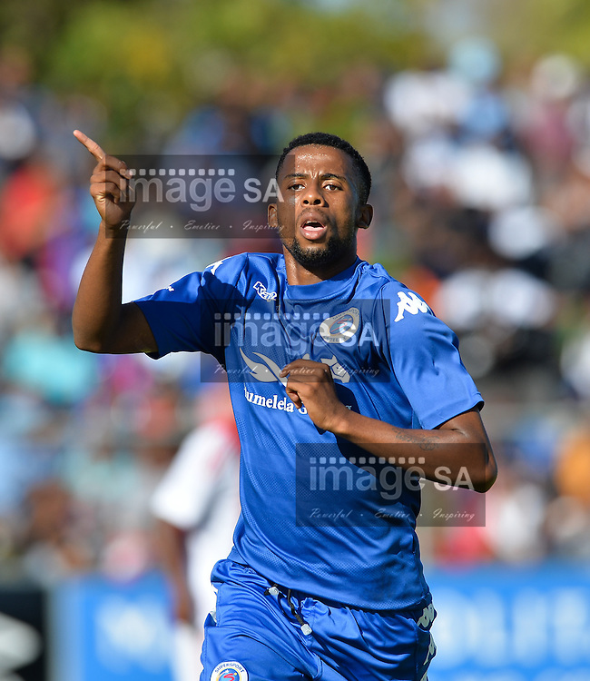 CAPE TOWN, SOUTH AFRICA - Monday 28 March 2016, Nelson Maluleke of Supersport United celebrates his goal during the final between Ajax Cape Town and Supersport United during the final day of the Metropolitan U19 Premier Cup at Erica Park in Belhar. <br /> Photo by Roger Sedres/ImageSA
