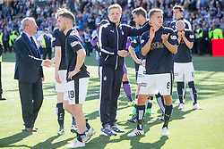 Players and fans at the end of the game. Kilmarnock 4 v 0 Falkirk, second leg of the Scottish Premiership play-off final.