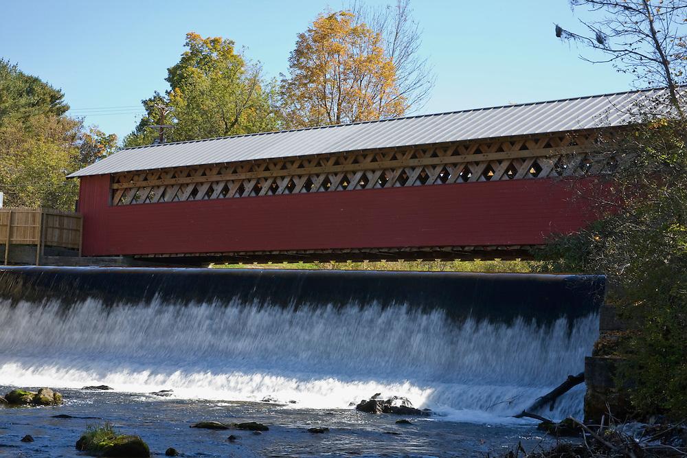 Covered bridge over river in SW VT.
