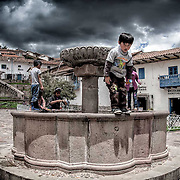 PERU, Cusco, Plaza San Blas. Youthful Innocence. The Calm before the storm.