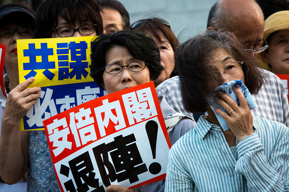 TOKYO, JAPAN - JULY 19: Anti-Abe protesters gather in front of the Tokyo parliament to protest against the policies of Shinzo Abe and to call on the Japanese prime minister to resign on July 19, 2017 Tokyo, Japan. Protesters carried placards condemning Abe, and chanted slogans expressing their opposition on several issues of contention, including Japan's nuclear power policies and the USA's presence in Okinawa. (Photo: Richard Atrero de Guzman/NUR Photo)