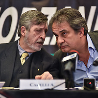 Como, Italy - 9 December 2017: Attilio Carelli, leader of Fiamma Tricolore<br />  (L) and Roberto Fiore, Italy's neo-fascist Forza Nuova leader (R) hold a press conference at Palace Hotel. Italy&rsquo;s Democrats led a rally at the same time a few hundreds meters away to warn about a comeback of fascist movements in the country.