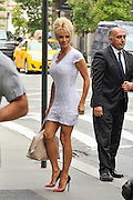 Sept. 11, 2014 - New York City, NY, United States - <br /> <br /> Pamela Anderson wearing tight dress<br /> <br /> Actress Pamela Anderson wears a very short dress as she arrives at a downtown hotel on September 11 2014 in New York City<br /> ©ZP/Exclusivepix