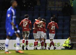 Bristol City's Matt Smith celebrates with his team mates after scoring his third goal. - Photo mandatory by-line: Dougie Allward/JMP - Mobile: 07966 386802 - 06/01/2015 - SPORT - football - Gillingham - Priestfield Stadium - Gillingham v Bristol City - Johnstone Paint Trophy - Area final