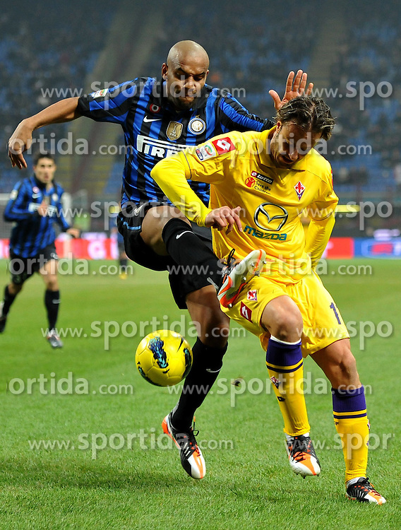10.12.2011, Stadion Giuseppe Meazza, Mailand, ITA, Serie A, Inter Mailand vs AC Florenz, 15. Spieltag, im Bild MAICON (Inter), Alberto GILARDINO (Fiorentina the football match of Italian 'Serie A' league, 15th round, between Inter Mailand and AC Florenz at Stadium Giuseppe Meazza, Milan, Italy on 2011/12/10. EXPA Pictures © 2011, PhotoCredit: EXPA/ Insidefoto/ Alessandro Sabattini..***** ATTENTION - for AUT, SLO, CRO, SRB, SUI and SWE only *****