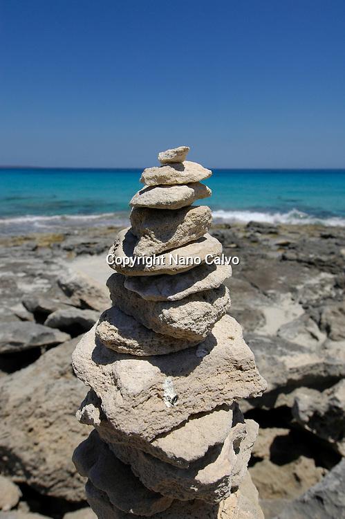 Stone sculpture at Llevant beach, in Formentera, Balearic Islands, Spain © Nano Calvo - VWPics.com