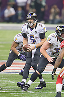 3 February 2013: Quarterback (5) Joe Flacco of the Baltimore Ravens drops back to pass against the San Francisco 49ers during the second half of the Ravens 34-31 victory over the 49ers in Superbowl XLVII at the Mercedes-Benz Superdome in New Orleans, LA.