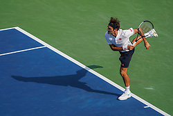 August 19, 2018 - Cincinnati, OH, U.S. - CINCINNATI, OH - AUGUST 19: Roger Federer of Switzerland serves in the championship match with Novak Djokovic of Serbia (not pictured) during the Western & Southern Open singles final at the Lindner Family Tennis Center in Mason, Ohio on August 19, 2018. (Photo by Adam Lacy/Icon Sportswire) (Credit Image: © Adam Lacy/Icon SMI via ZUMA Press)