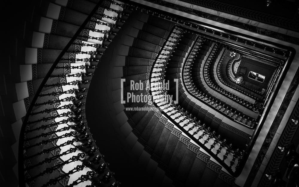 The stairway of the Avenida Palace Hotel in Lisbon, Portugal