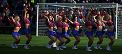 LONDON, ENGLAND - Saturday, February 21, 2015: Crystal Palace's cheerleaders, the Crystals, perform before the Premier League match against Arsenal at Selhurst Park. (Pic by David Rawcliffe/Propaganda)