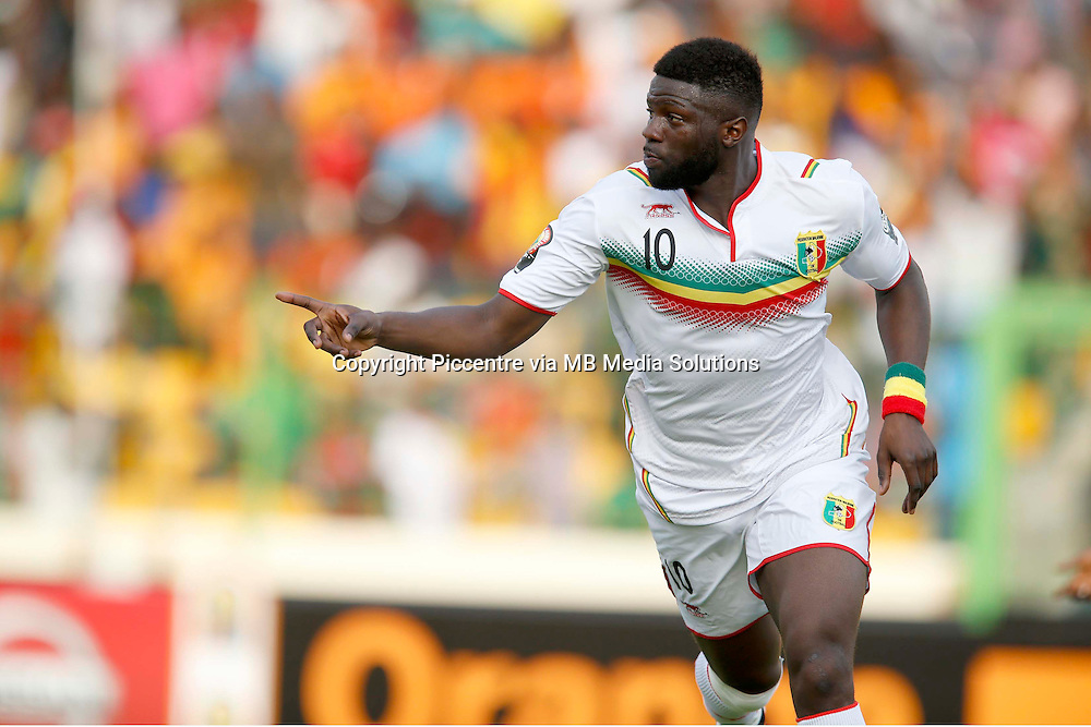 Bakary Soko of Mali celebrates his goal against Cote d'Ivoire during their AFCON match at the Nueva Estadio de Malabo on January 24, 2015.The match ended 1-1.Photo/Mohammed Amin/www.pic-centre.com (Equatorial Guinea)