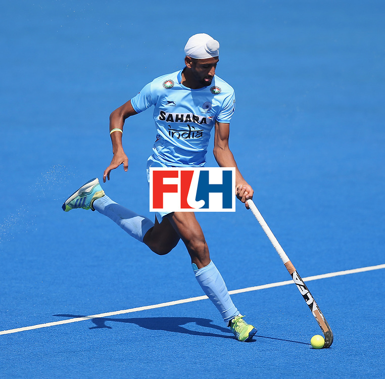 LONDON, ENGLAND - JUNE 20: Mandeep Singh of India during the Pool B match between India and the Netherlands on day six of the Hero Hockey World League Semi-Final at Lee Valley Hockey and Tennis Centre on June 20, 2017 in London, England.  (Photo by Alex Morton/Getty Images)