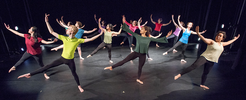 Photography &copy;Mara Lavitt<br /> April 13, 2018<br /> Crescent Underground Theater, Morse College, Yale University, New Haven<br /> <br /> Dress rehearsal for Yale Dance Theater's 2018 spring project: Paul Taylor early works, led by Paul Taylor 2's rehearsal director Ruth Andrien.