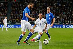 Kieran Gibbs of England is challenged by Leonardo Bonucci of Italy - Photo mandatory by-line: Rogan Thomson/JMP - 07966 386802 - 31/03/2015 - SPORT - FOOTBALL - Turin, Italy - Juventus Stadium - Italy v England - FIFA International Friendly Match.