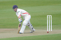 Alex Davis of Lancashire is out for LBW  bowled by Matt Taylor of Gloucestershire - Photo mandatory by-line: Dougie Allward/JMP - Mobile: 07966 386802 - 07/06/2015 - SPORT - Football - Bristol - County Ground - Gloucestershire Cricket v Lancashire Cricket - LV= County Championship