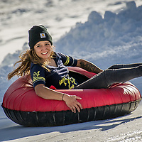Starr Resendiz of Newberry Springs rides the newly-made snow during opening day at Big Bear Snowplay in Big Bear City, Sunday, Nov. 19, 2017. The local temperatures from the night time mid 20's to mid 50's in the day have made for Big Bear Snowplay to make from 6 inches to 2 1/2 foot base. Snowplay will continue to make new snow every night along with other mountain recreation areas and resorts. (Eric Reed/For The OC Register/SCNG)