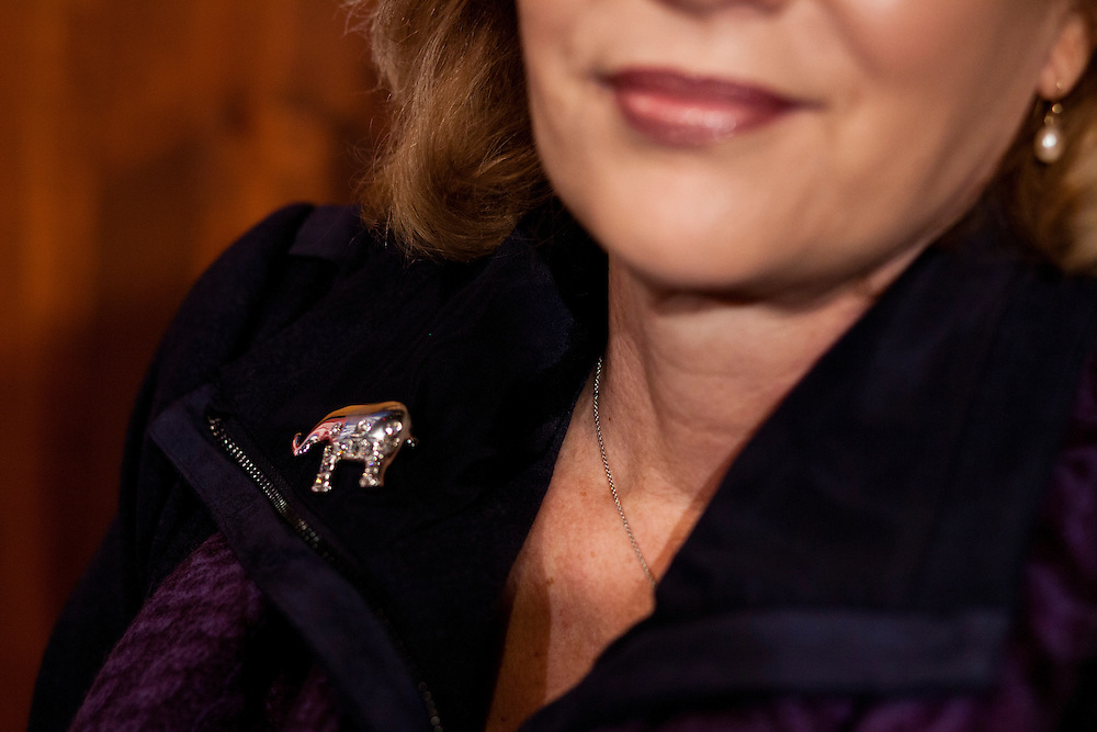 Anita Perry, wife of Republican presidential candidate Rick Perry, wears an elephant pin at a campaign event on Friday, December 30, 2011 in Waverly, IA.