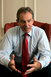 UK ENGLAND LONDON 30JUN05 - British Prime Minister Tony Blair reacts during interview in his study at 10 Downing Street, London. He granted a rare interview to foreign media in support of the London 2012 Olympic bid...jre/Photo by Jiri Rezac ..© Jiri Rezac 2005..Contact: +44 (0) 7050 110 417.Mobile:  +44 (0) 7801 337 683.Office:  +44 (0) 20 8968 9635..Email:   jiri@jirirezac.com.Web:    www.jirirezac.com..© All images Jiri Rezac 2005 - All rights reserved.