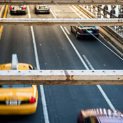 Traffic crossing Brooklyn Bridge into Manhattan
